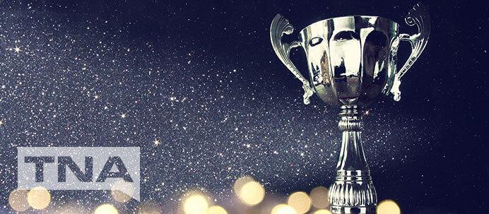Silver award trophy showered in glitter