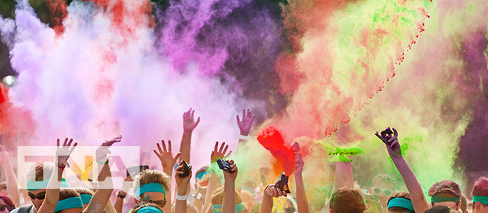 People participating in the color run