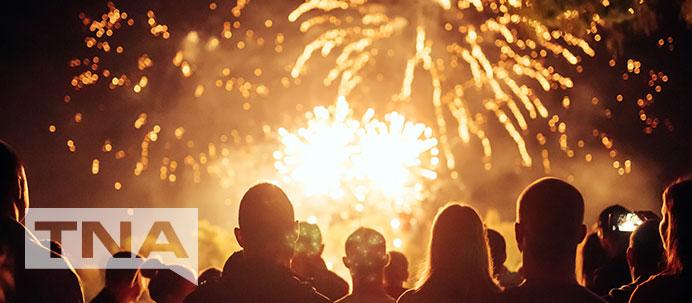 Fireworks exploding overhead