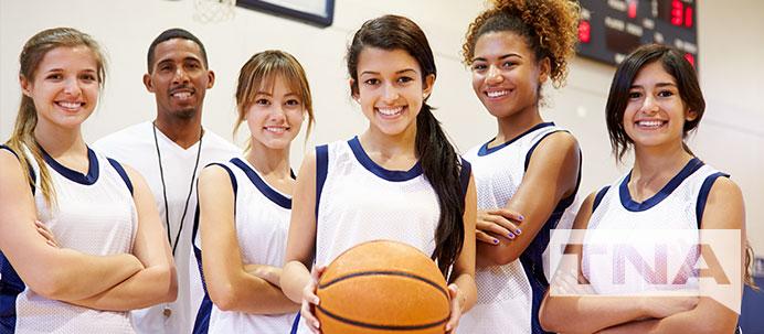 Smiling Girls Basketball Team